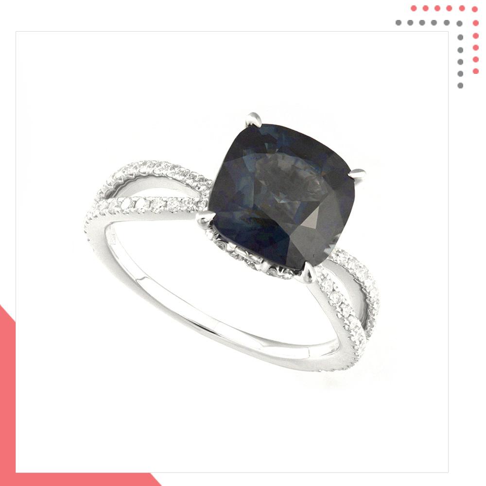 Divine Gems Premium Bold Black EOS 18K White Gold Ring