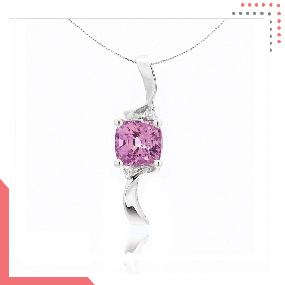 Divine Gems Lilac Antheia Streamer 18K White Gold Pendant