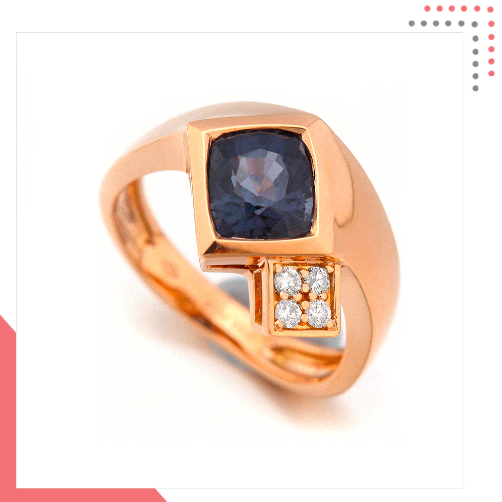 Divine Gems Space EOS Covered Ring in 18K Rose Gold