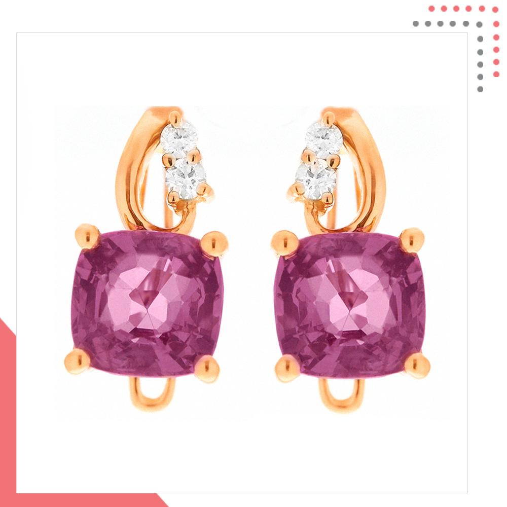 Divine Gems Purple Antheia Owl 18K Rose Gold Earring