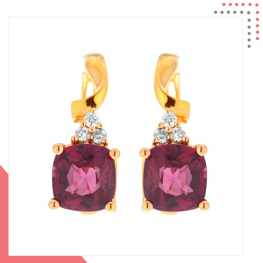 Divine Gems Purple Antheia Ribbon 18K Rose Gold Earring