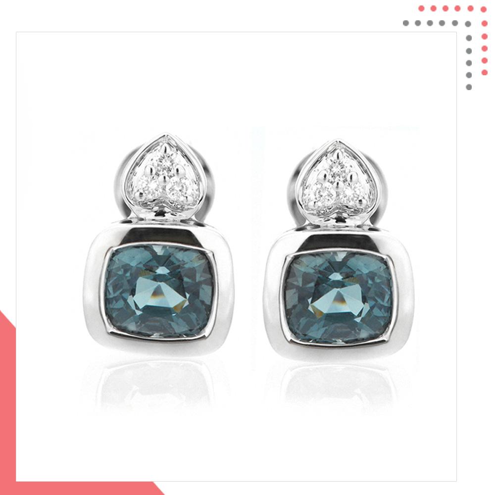 Divine Gems Leaf Aquamarine Harmonia 18K White Gold Earring