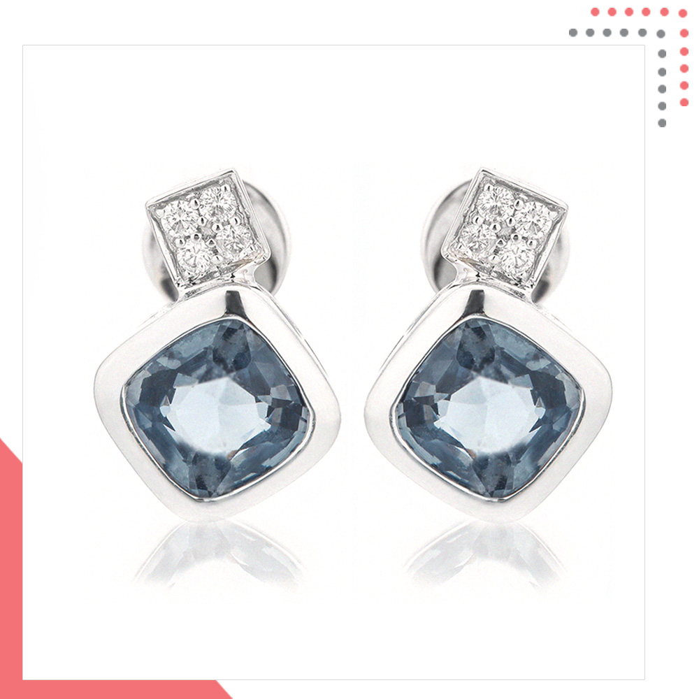 Divine Gems Aquamarine Harmonia Tiled 18K White Gold Earring