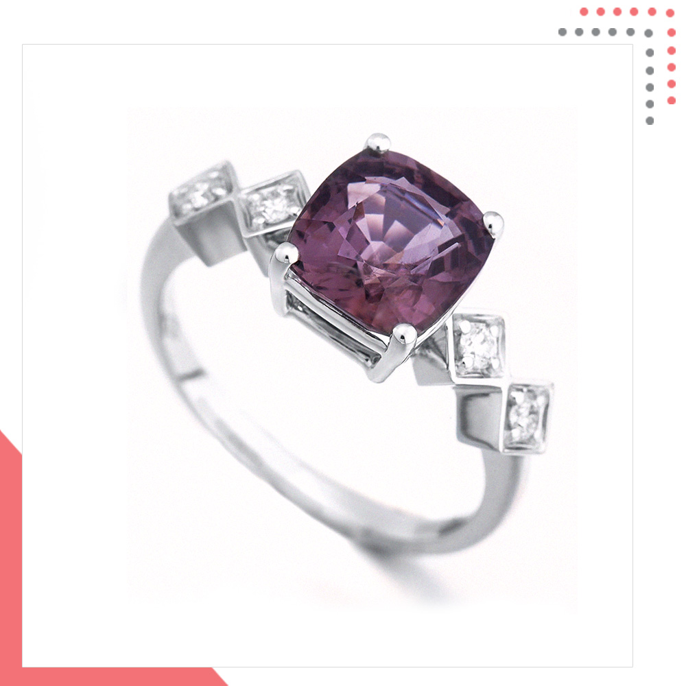 Divine Gems Lilac 4 Square Antheia 18 White Gold Ring