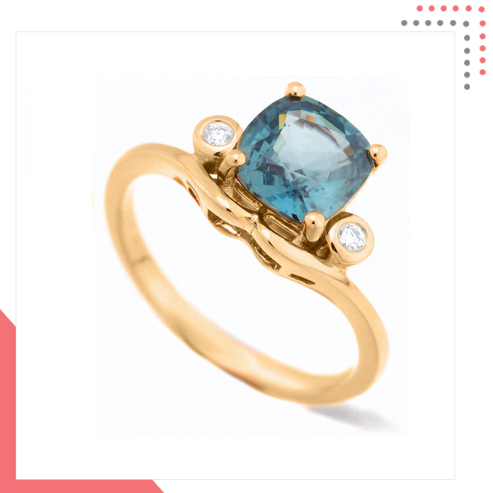 Divine Gems Aquamarine Harmonia in 18K Rose Gold Ring
