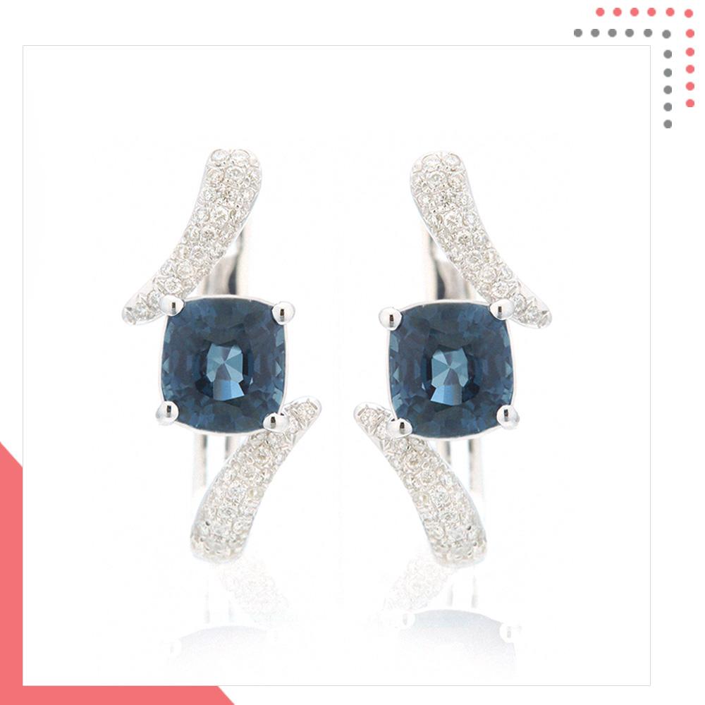 Divine Gems Aquamarine Harmonia Wingblade 18K White Gold Earring