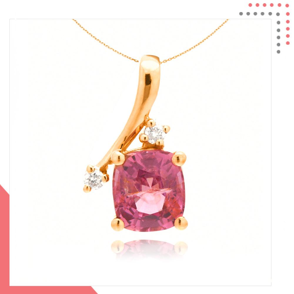Divine Gems Pink Antheia Single Wing 18K Rose Gold Pendant