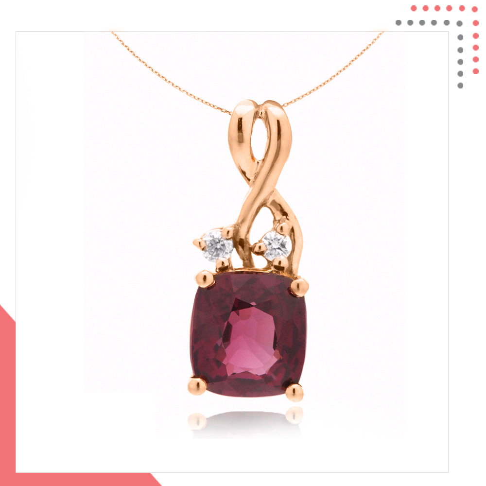 Divine Gems Lilac Antheia 8-Two Stud 18K Rose Gold Pendant