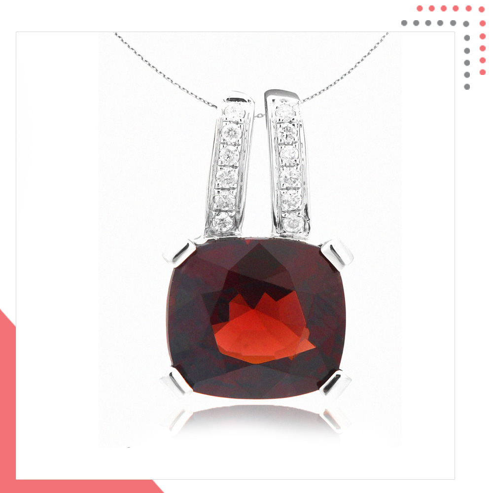 Divine Gems Red Scarlet Erato Twin 18K White Gold Pendant