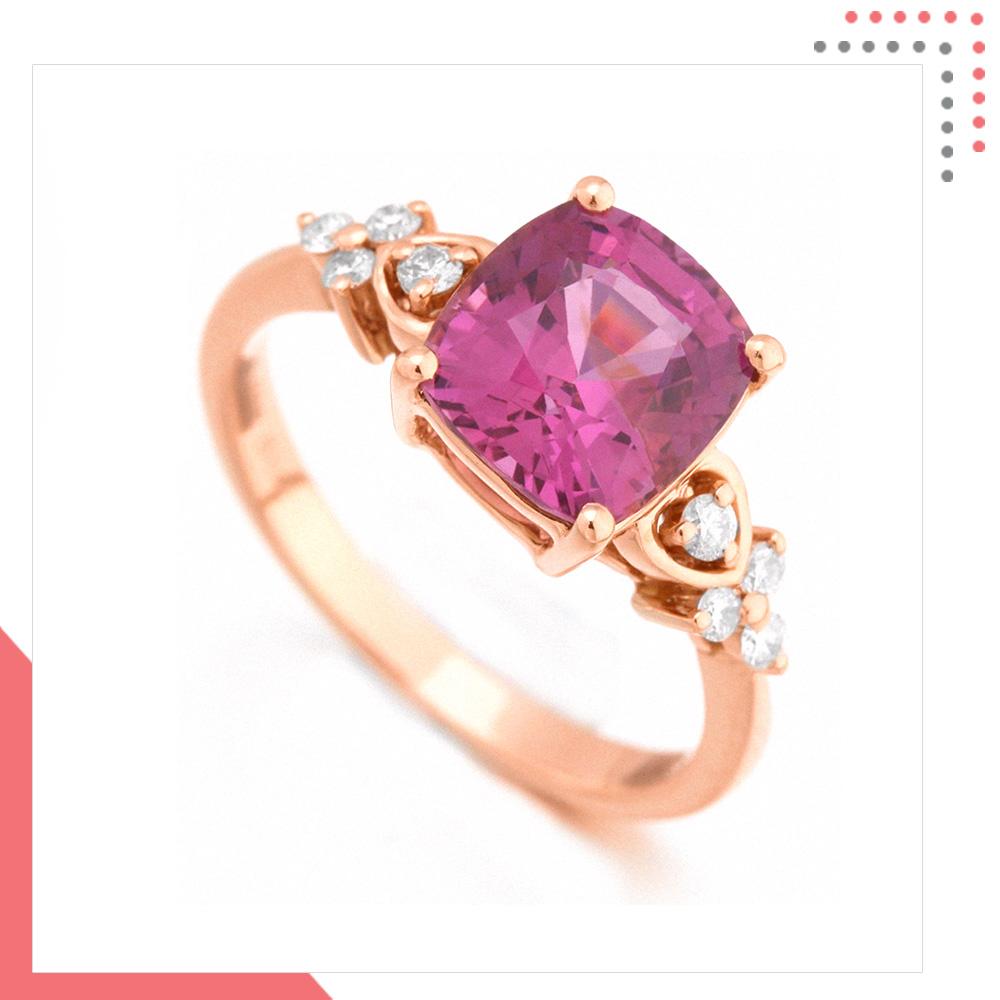 Divine Gems Pink Antheia Floral Love 18K Rose Gold Ring