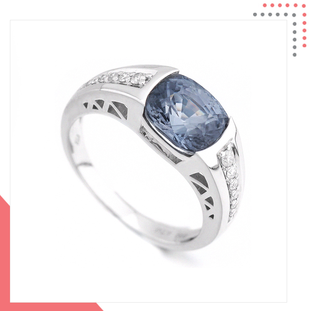 Divine Gems Cornflower EOS 18K White Gold Ring
