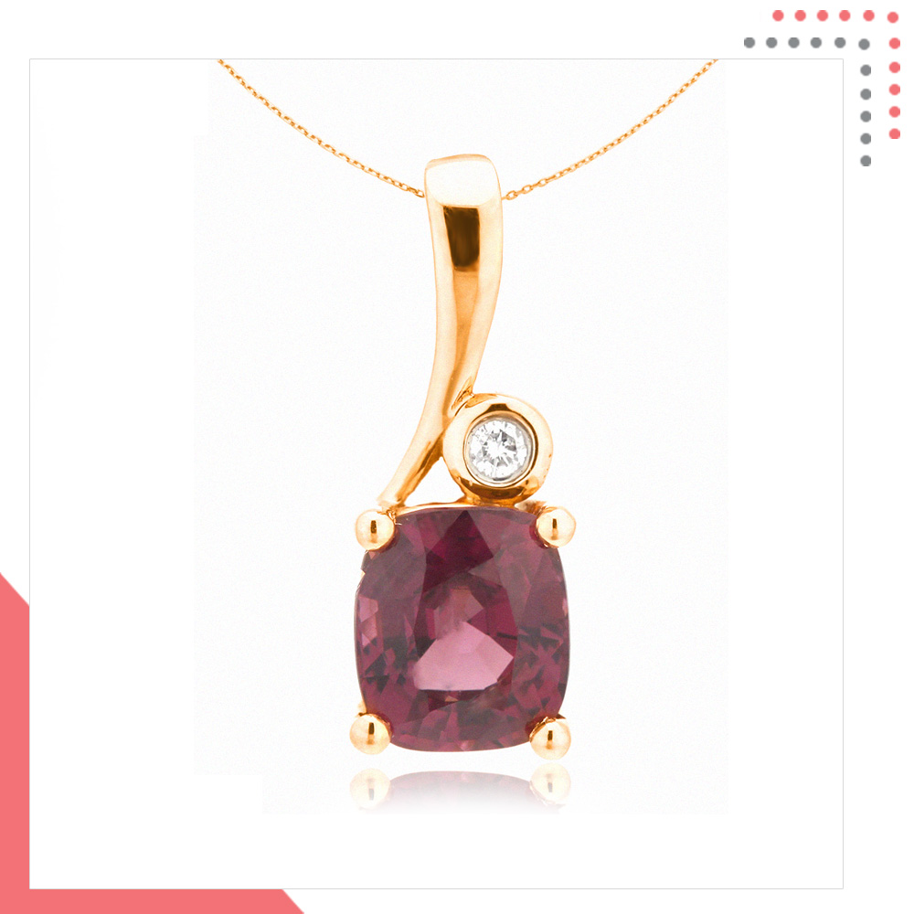 Divine Gems Purple Antheia Note 18K Rose Gold Pendant