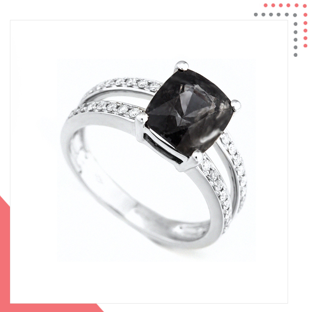 Divine Gems Black Dual EOS 18K White Gold Ring