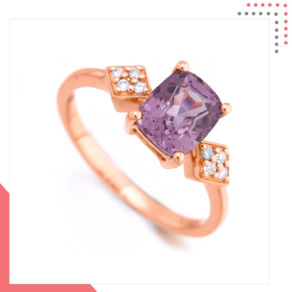 Divine Gems Lilac Antheia 18K Rose Gold Ring