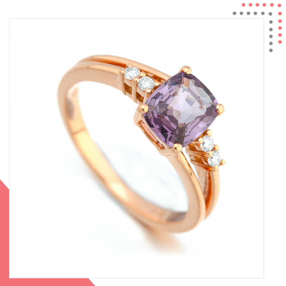 Divine Gems Lilac Antheia Twin 18K Rose Gold Ring