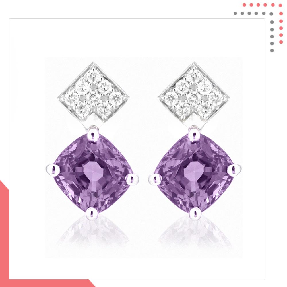Divine Gems 18K White Gold Earring – J044796