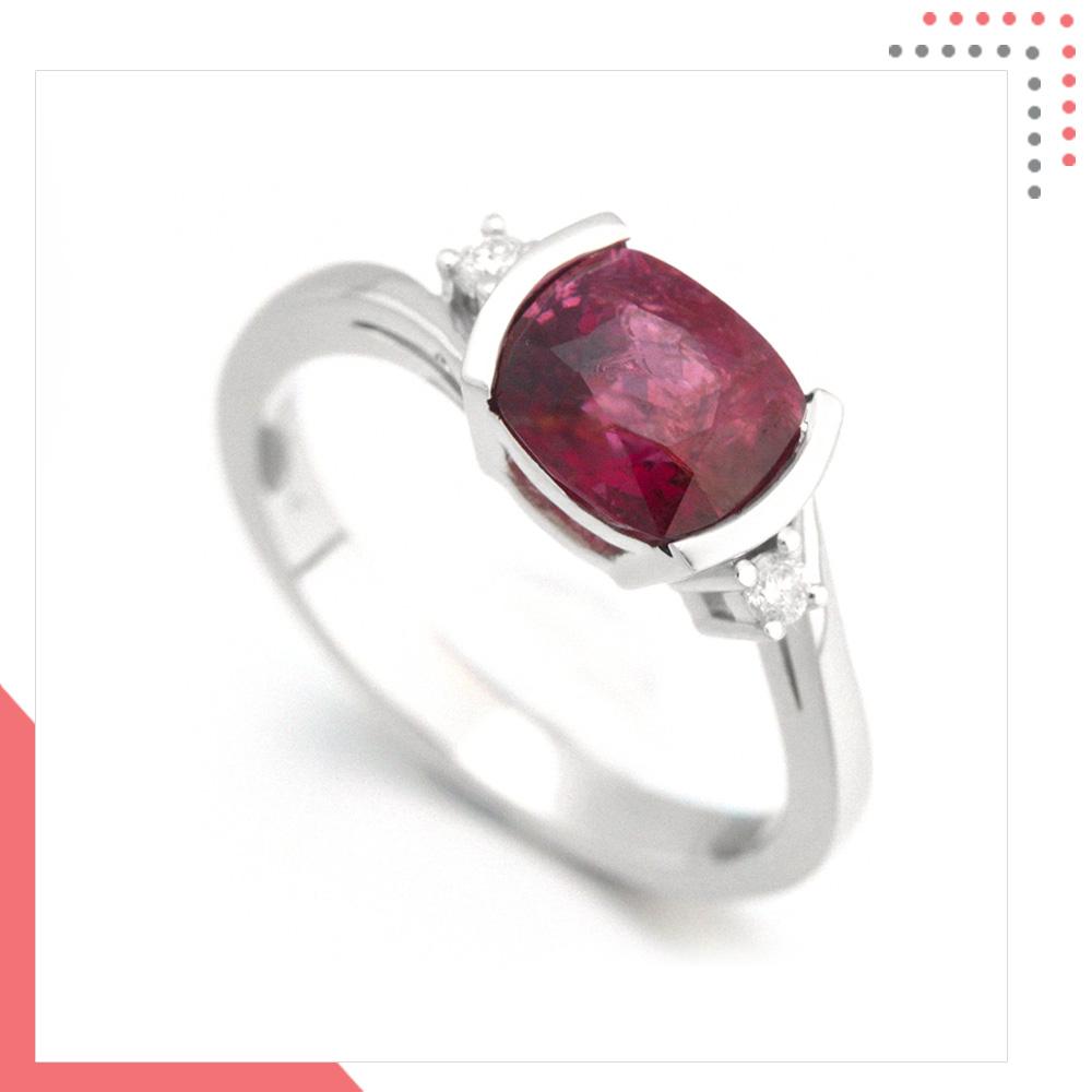Divine Gems Purple Antheia Slim 18K White Gold Ring