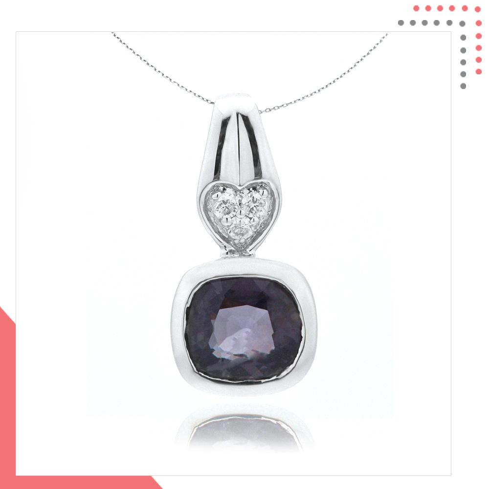 Divine Gems Dual Heart 18K White Gold Pendant