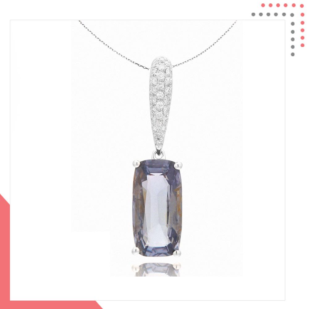 Divine Gems Lavender Athena Single Leaf 18K White Gold Pendant