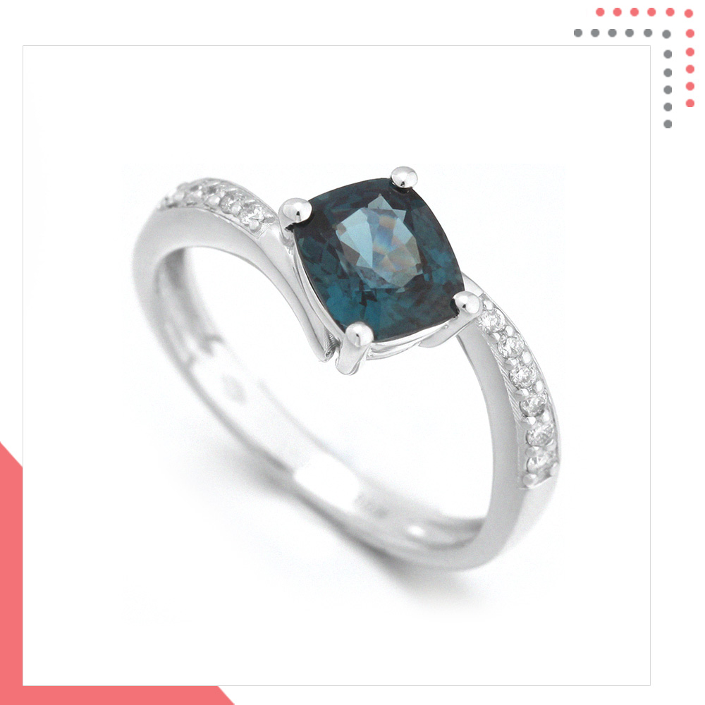 Divine Gems Blue Urania Intertwine 18K White Gold Ring