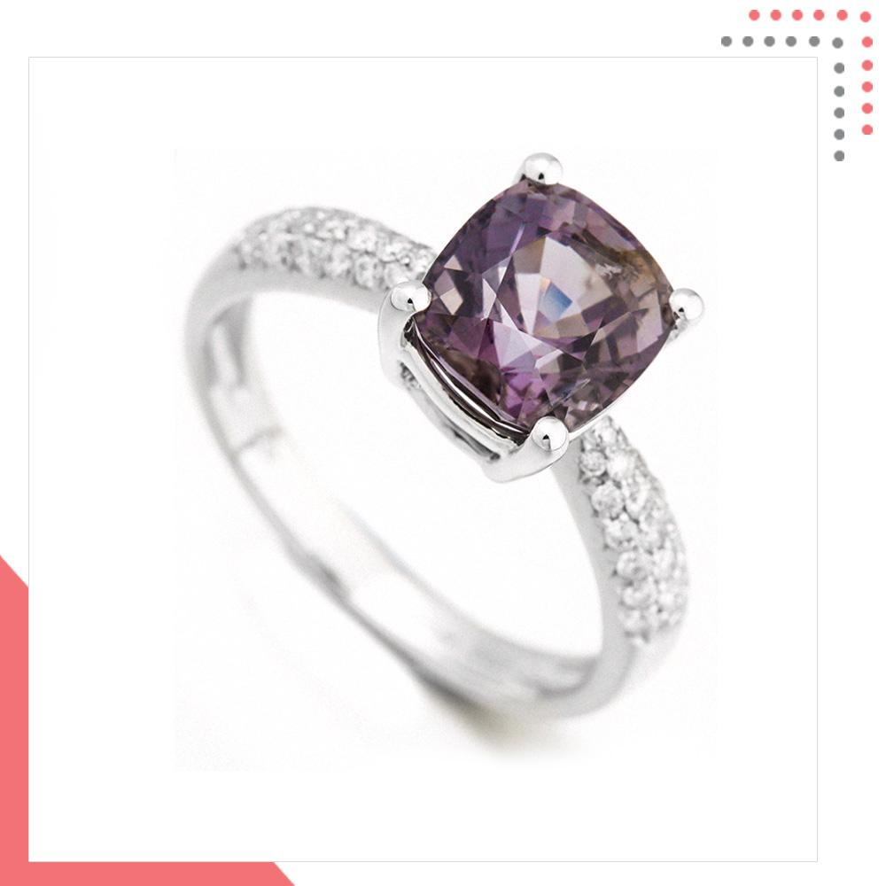 Divine Gems Purple Erato 18K White Gold Ring
