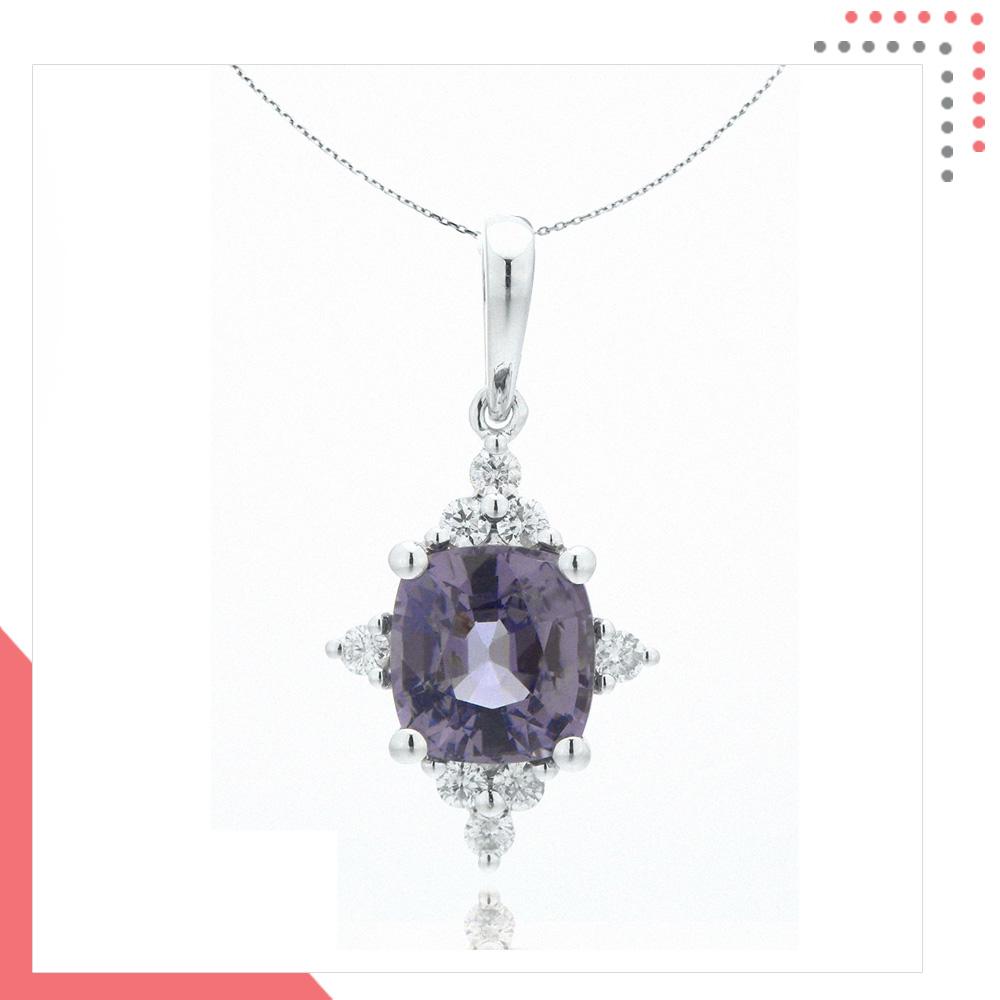 Divine Gems Lilac Athena 4 Way 18K White Gold Pendant