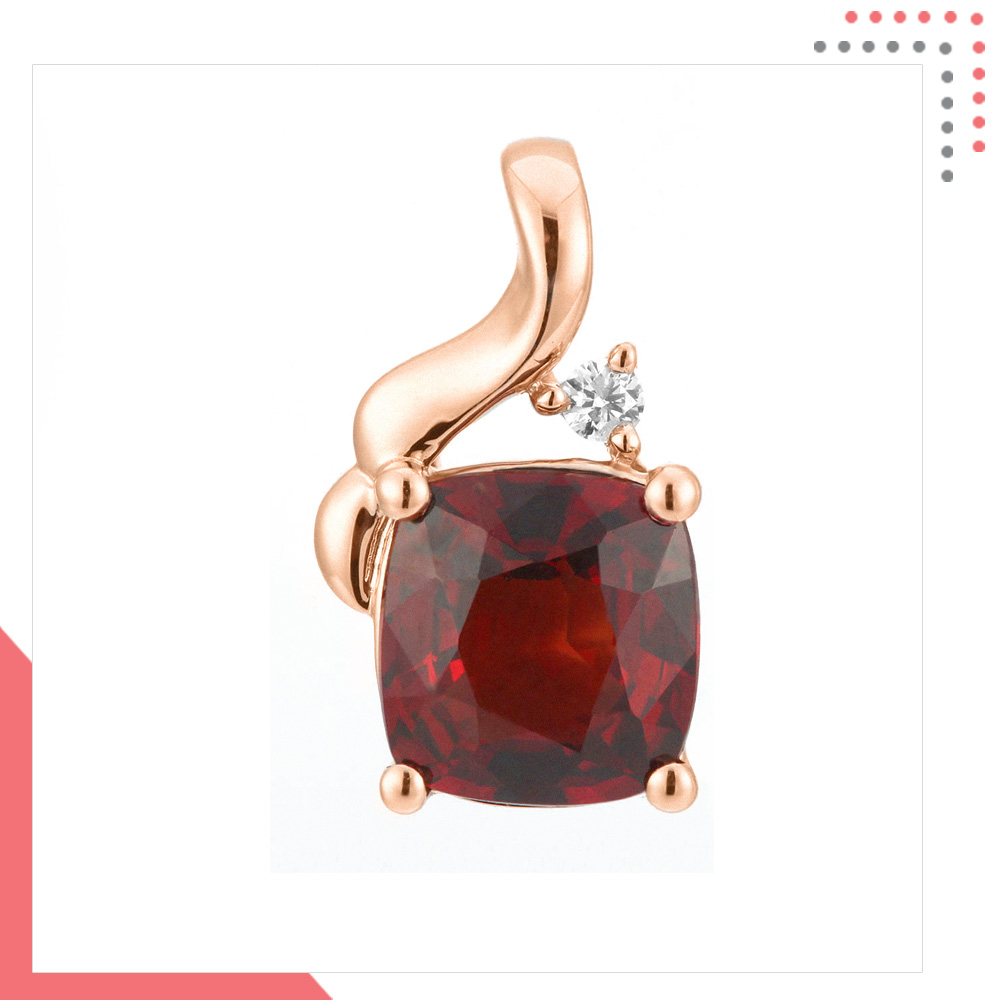 Divine Gems Scarlet Red Erato Stem 18K Rose Gold Pendant