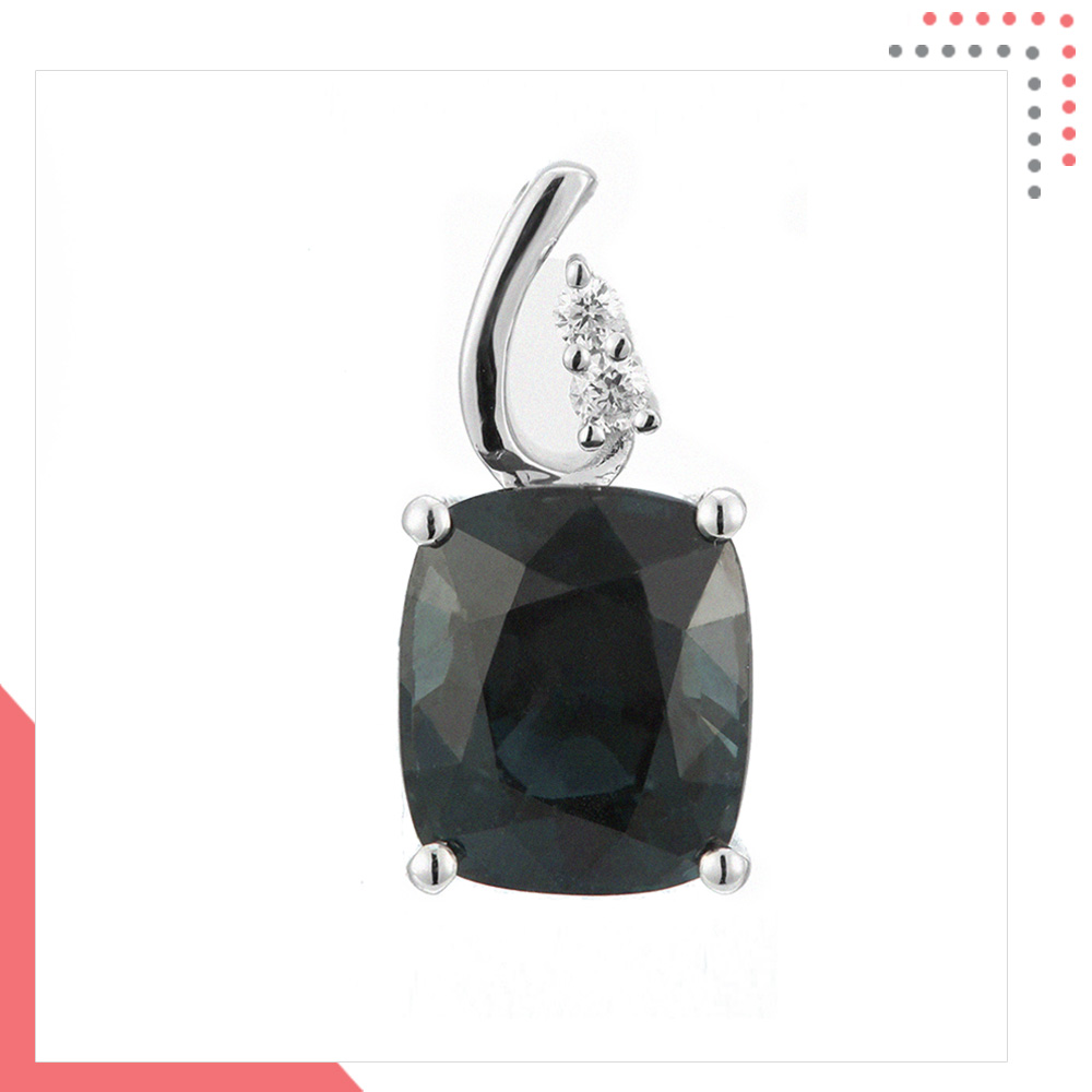 Divine Gems Black EOS Stem 18K White Gold Pendant