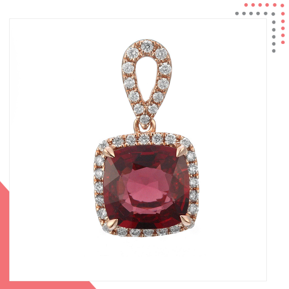 Divine Gems Purple Antheia Studded Loop 18 K Rose Gold Pendant