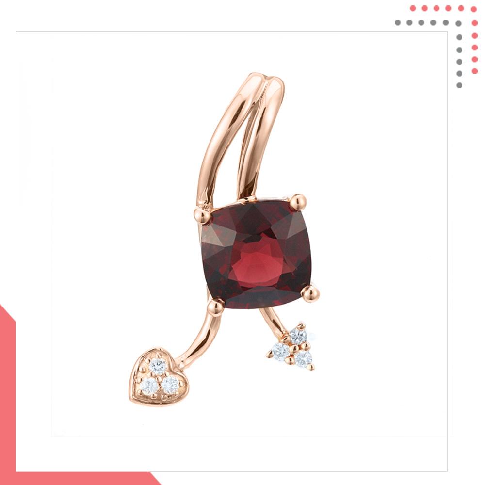 Divine Gems Red Scarlet Erato Love Lift 18K Rose Gold Pendant
