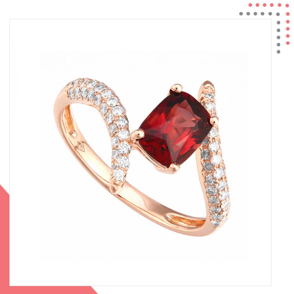 Divine Gems Scarlet Intertwine Erato Unity 18K Rose Gold Ring