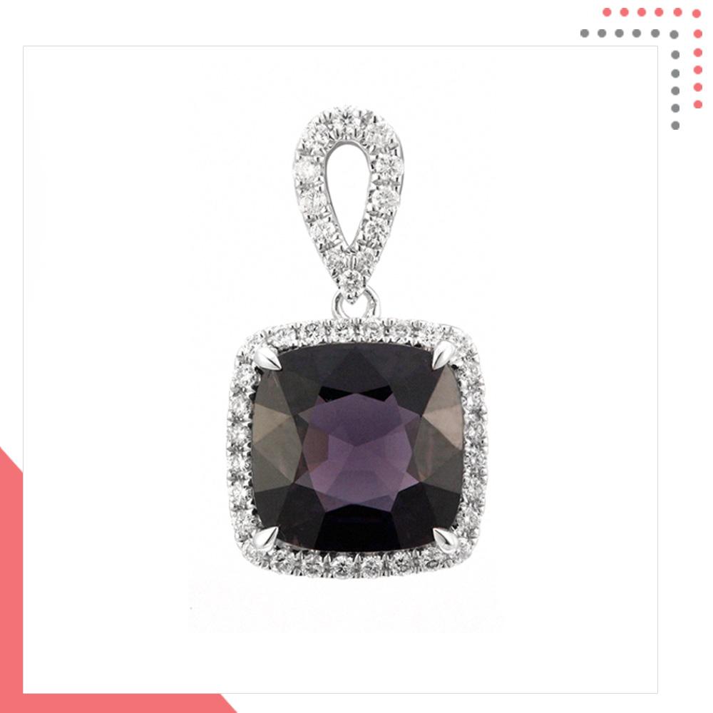 Divine Gems Violet Urania Loop 18K White Gold Pendant