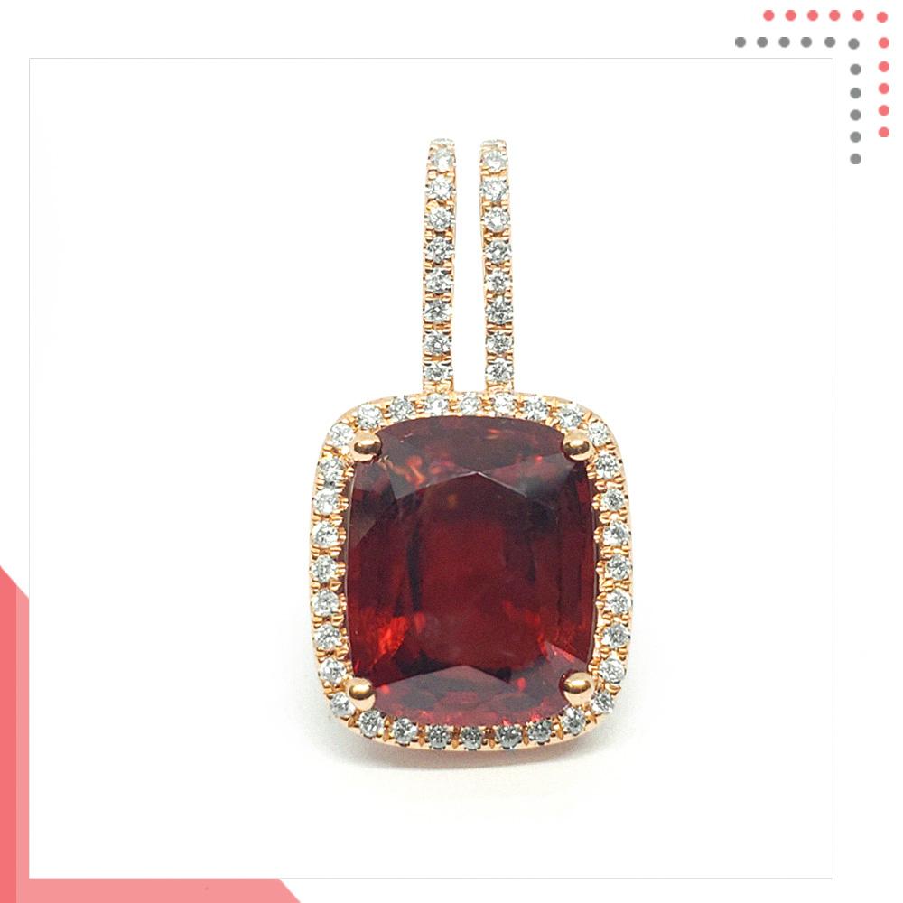 Divine Gems Red Scarlet Erato Premium Twin 18K White Gold Pendant