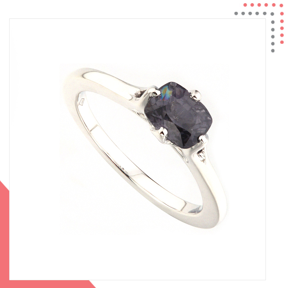 Divine Gems Black Hebe Slim White Gold Ring