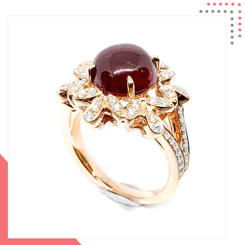 Divine Gems Flower Dome Urania Lily 18K Rose Gold Ring